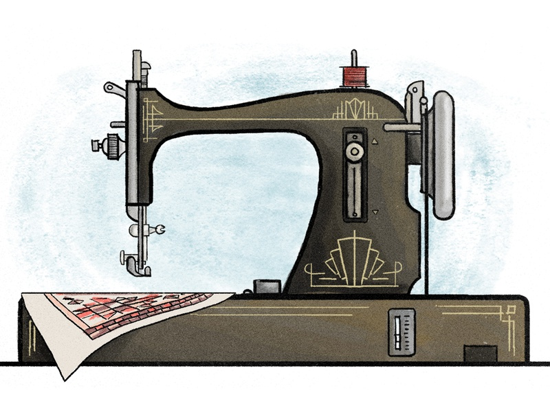 Vintage Sewing Machine illustration quilt machine sewing vintage