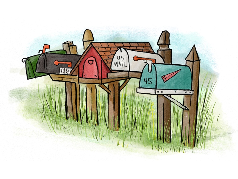 Mailboxes camp gouache illustration mailbox