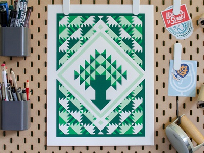 Tree Paper Quilt (Poster) tree screen print quilting quilt poster art poster new england illustration geometric
