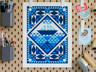 Ship and Sea Paper Quilt (Poster) ship ocean sea screen print quilting quilt poster art poster new england illustration geometric