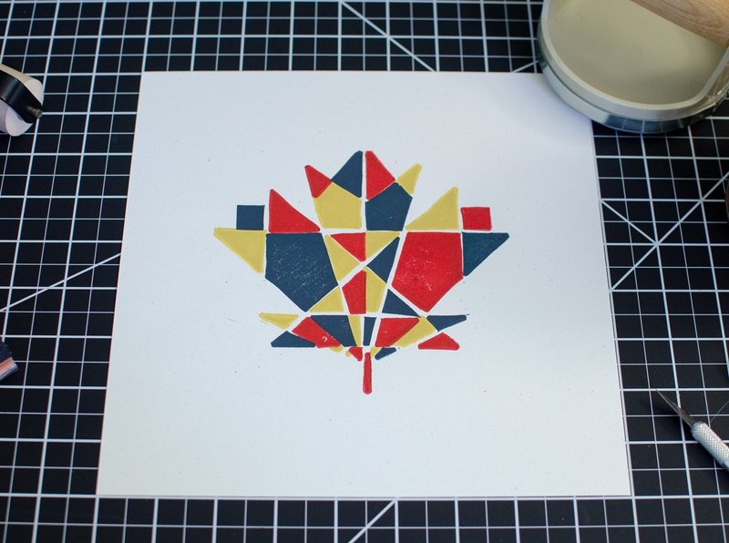 Maple Leaf Block Print print handmade linocut leaf maple geometric new england illustration