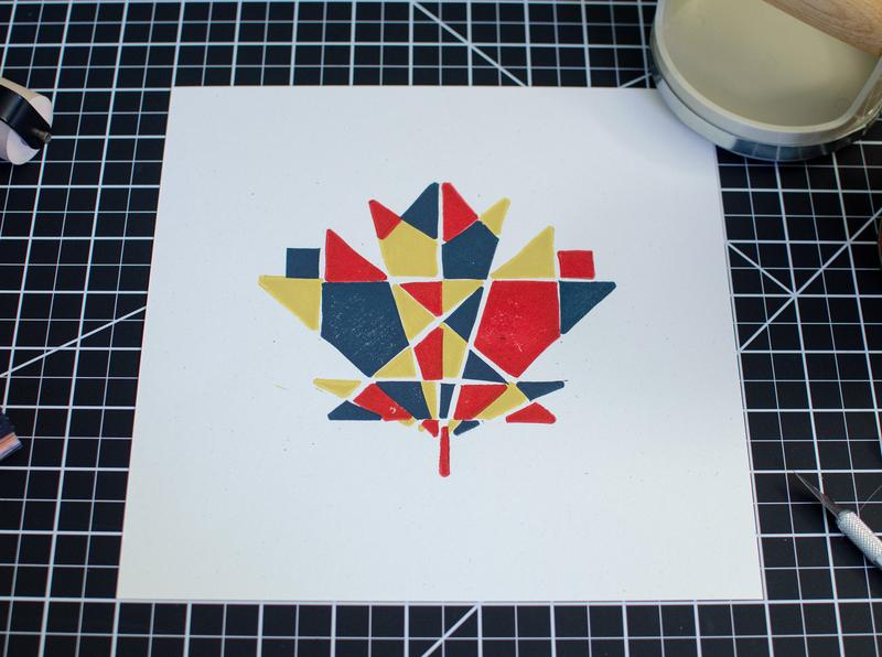 Maple Leaf Block Print print handmade linocut leaf maple geometric new england illustration