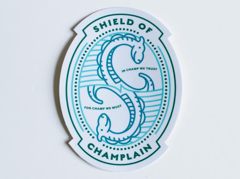 Champ Shield of Champlain Sticker badge design illustration champlain new england vermont monster lake champ sticker