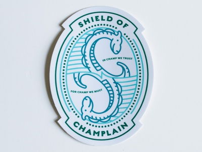 Champ Shield of Champlain Sticker badge design illustration champlain new england vermont monster lake champ sticker
