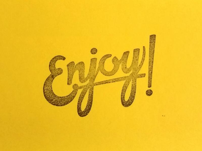 Enjoy Lettering stamp stationary cards script lettering