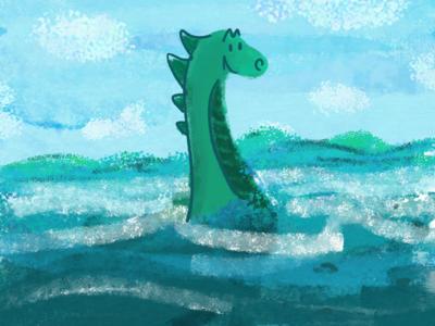 Champ the Lake Monster monster champ lake champlain vermont illustration digital illustration adobe fresco