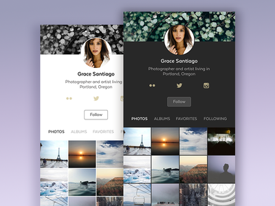 Daily UI #006 - User Profile dailyui ui app user interface app design night theme photo sharing ui design user profile