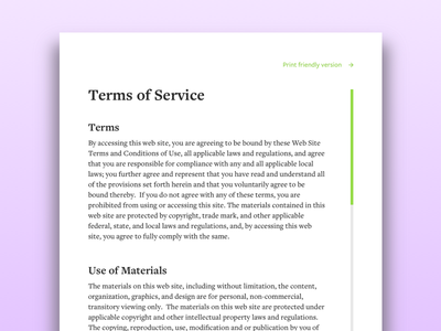 Daily UI #089 - Terms Of Service web design terms of service user interface design ui design daily ui dailyui