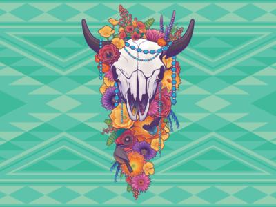 Sonoran Flowers turquoise navajo skull buffalo bison arizona sonoran saguaro cactus flower desert
