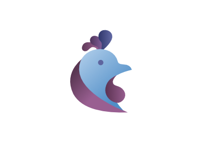 Blue Rooster purple blue rooster gradient design app logo