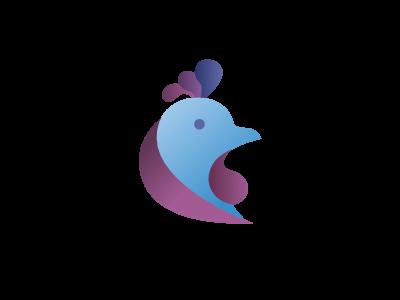 Blue Rooster purple blue rooster gradient design app logo