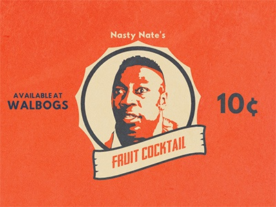 Nasty Nate's Fruit Cocktail Retro blue orange ad movie vintage retro