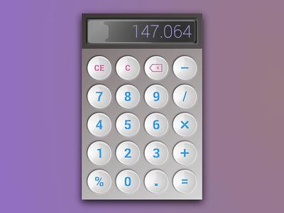 Daily Ui 004- Calculator dailyui glossy gradient calculator