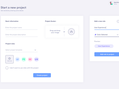 Manager New Project form ux project management ui