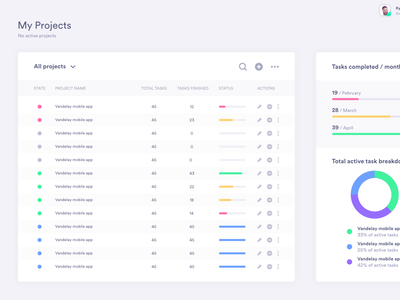Manager Project View ux ui project management dashboard
