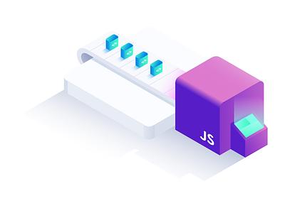 Javascript Libraries blue purple illustration isometric gradient