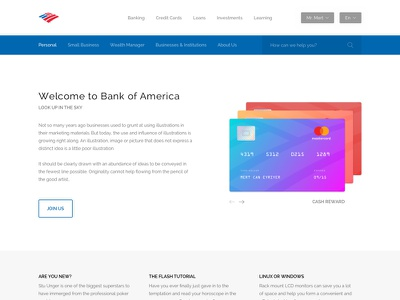 Bank of America Website Redesign - Freebie panel loan redesign ux ui website bank of america bank