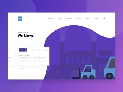 Crate building truck forklifts gradient one page landing page landing illustration