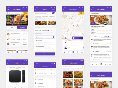 Getir UX/UI Case Study product detail map restaurant detail filter search restaurant ux ui redesign design app