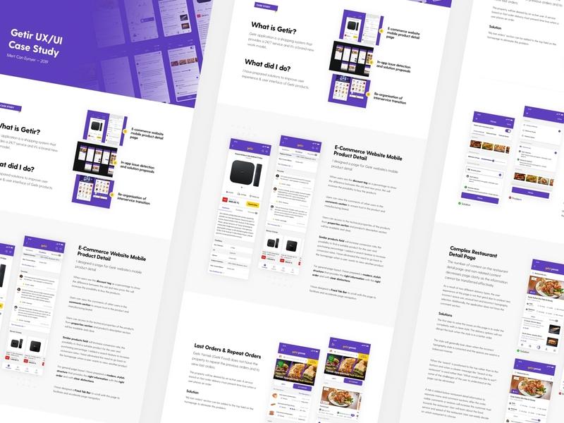 Getir UX/UI Case Study product filter restaurant e-commerce mobile app presentation research app mobile case study ui ux