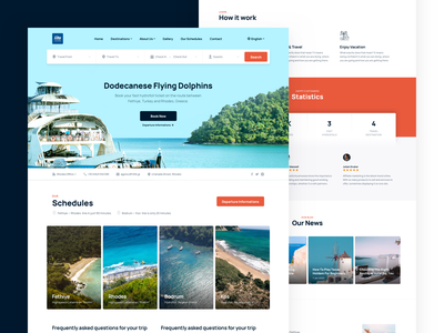 Ferry Ticket Website Homepage — 12fd.gr landing page filter search ticket ferryboat ferry product design web design design website ux ui