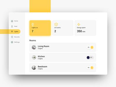 Daily UI: #021 Home Monitoring Dashboard tablet userinterface uiux ux switch dashboard monitoring home yellow design ui dailyui app ipad app ipad