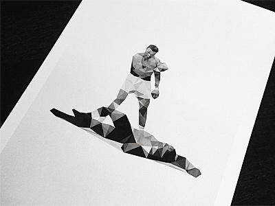 Knockdown dmesh muhammad ali sonny liston cassius clay photoshop poster geometric delaunay