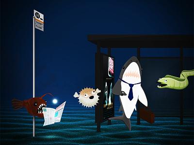 Bus Stop underwater fish shark metro