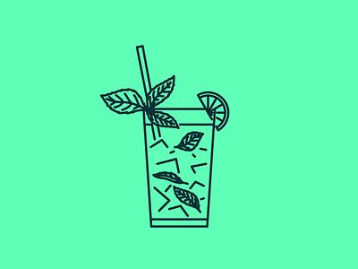 Mojito monoweight refreshing summer cocktail mojito illustrator illustration