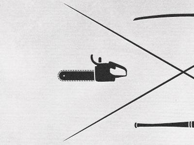 Weapon of Choice pulp fiction chainsaw samurai sword baseball bat hammer butch