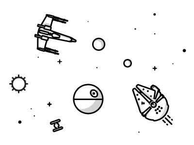 Star Wars Nick Slater Style nick slater star wars millenium falcon x-wing tie fighter death star line drawing