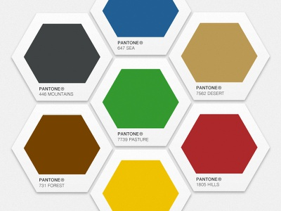 Settlers of Pantone settlers of catan pantone swatches board game thief hexagon concept