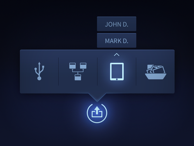 Flyout Menu sharing flyout navigation menu dark neon glow export publish icons popover