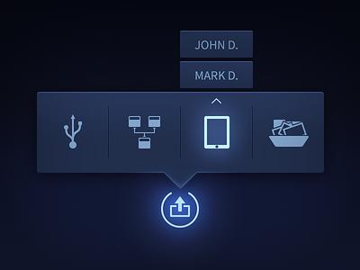Flyout Menu sharing flyout navigation menu dark neon glow export publish icons popover