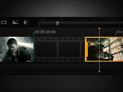 Timeline gui ui interface timeline tracks playback video visual design editing filmstrip camera texture