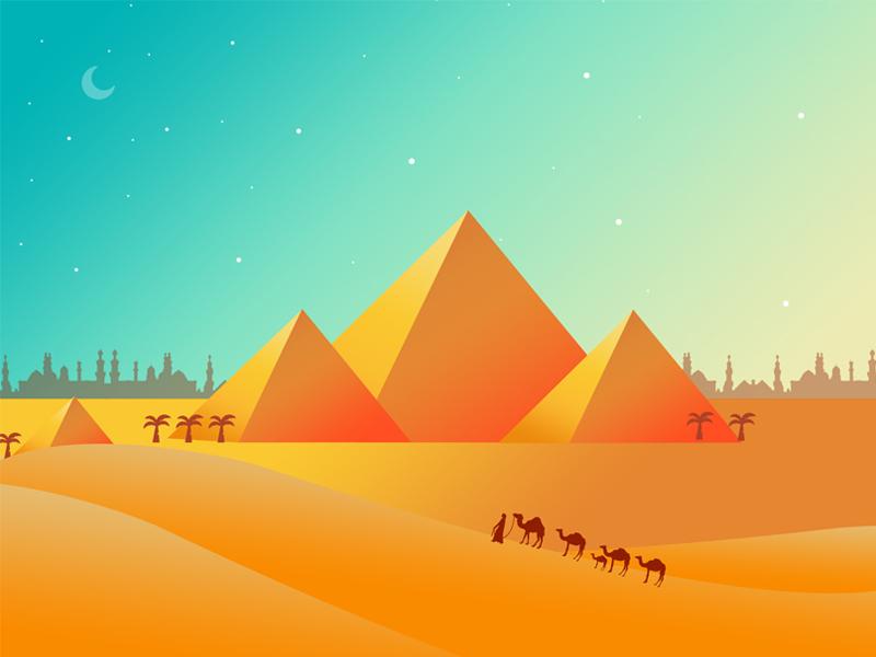 Flat design pyramid illustrations dates horizon camel desert wonders monument pyramid environment orange illustration