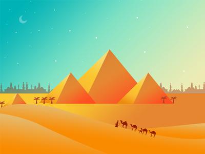 Flat design pyramid illustrations