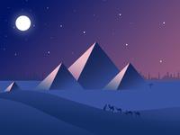 Night flat design pyramid illustrations
