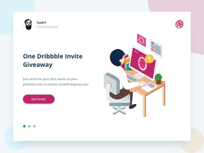 O-N-E Dribbble Invite Giveaway tushit shot one invites invite invitation giveaway dribbble draft debut 1