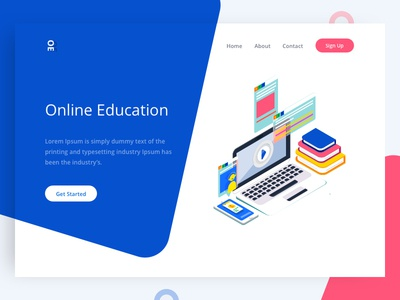 Online Education tushit blue web pink page landing illustration home