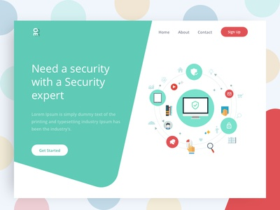 Need a Security? ux ui web tushit red page landing illustration