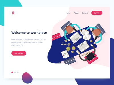 Welcome To Workplace landscape gradient web ux ui tushit red page landing illustration