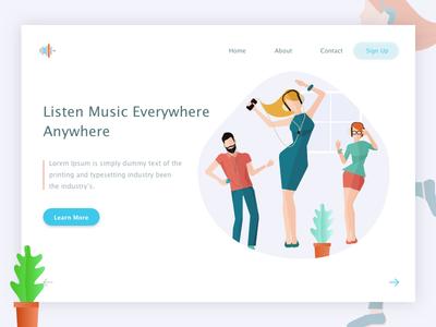 Listen Music Everywhere  Anywhere web ux ui tushit page music landscape landing illustration gradient anywhere