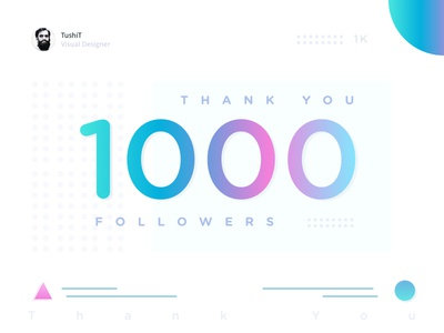 1000 Followers ux ui you thank illustration colorful clean 1k followers 1000