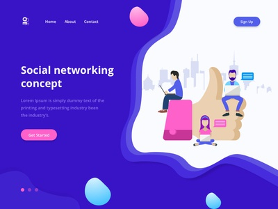 Social Networking Concept concept technology network social minimal page lading illustration fresh colorfull