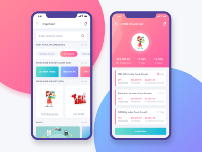 Funds Investment UI iphonex mobile money blue pink ux ui investment funds