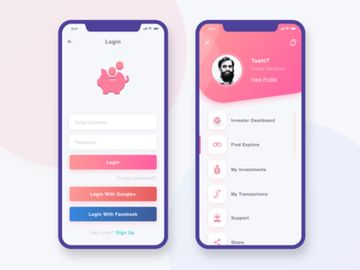Funds Investment UI login profile ux ui pink money mobile iphonex investment funds blue