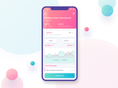 Fund Investment Details UI ux ui profile pink money mobile login iphonex investment funds blue