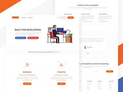 Landing Page (WIP) job work find companys developers website web ux ui tushit landing design