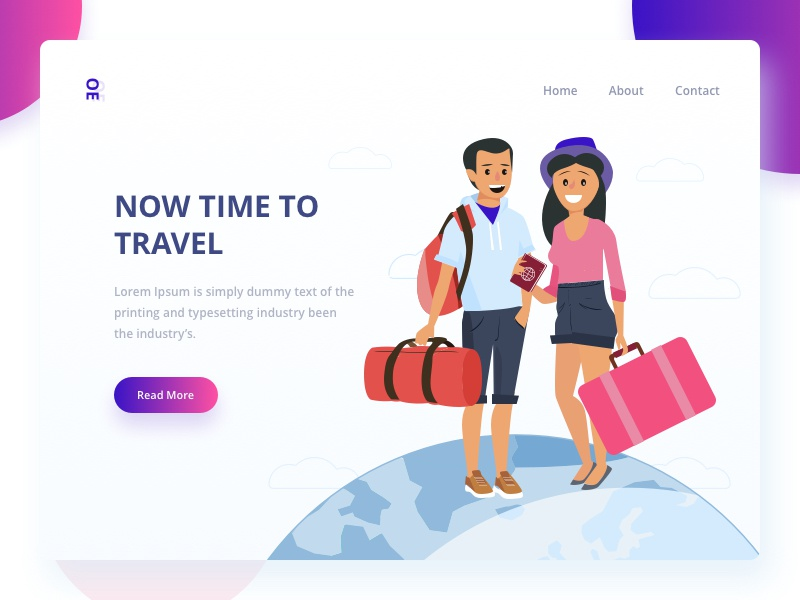 """Now Time To Travel"" travel web ux ui mobile landscape illustration gradient"